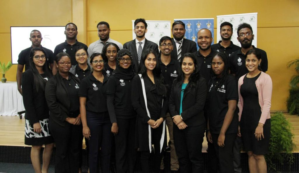 UWI students who took part in First Citizens' intership programme pose for a photograph at the closing ceremony held last Friday at the University Inn, UWI, St Augustine. PHOTO BY SUREASH CHOLAI