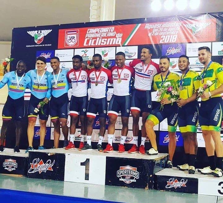 TT cyclists on top of the podium after winning gold in the men's team sprint at the 2018 Elite Pan Am Track Cycling Championships, on Wednesday.