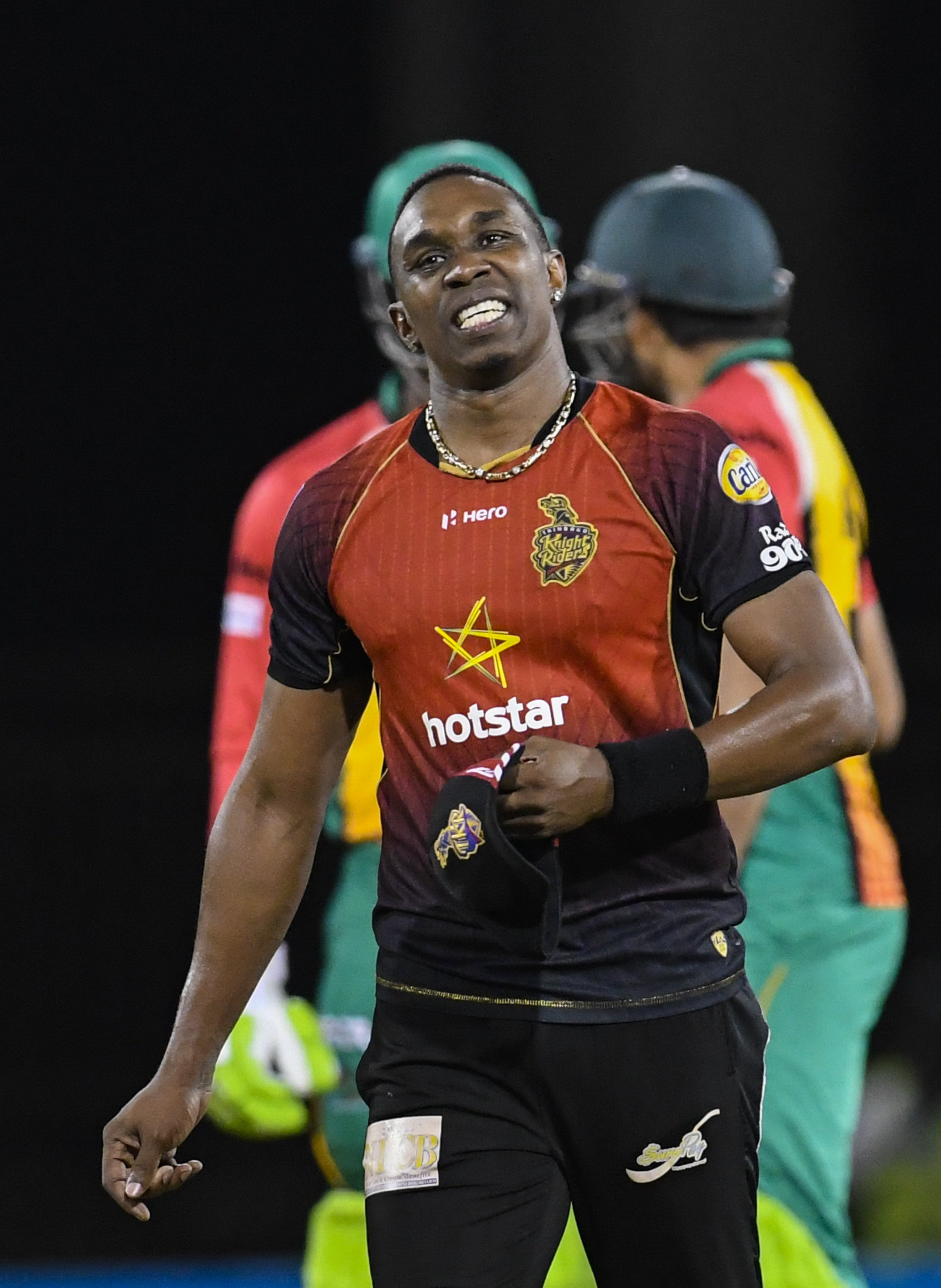 In this handout image provided by CPL T20, Dwayne Bravo of Trinbago Knight Riders express disappointment during the Hero Caribbean Premier League Play-Off match 31 between Guyana Amazon Warriors and Trinbago Knight Riders at Guyana National Stadium on September 11, 2018 in Providence, Guyana (Photo by Randy Brooks - CPL T20/Getty Images)