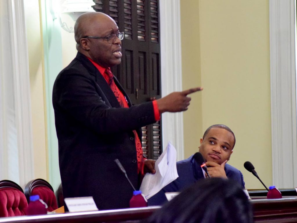Chief Secretary Kelvin Charles speaks during debate on the Tobago House of Assembly's 2018/2019 budget proposals in the Assembly's Chamber in Scarborough earlier this year.