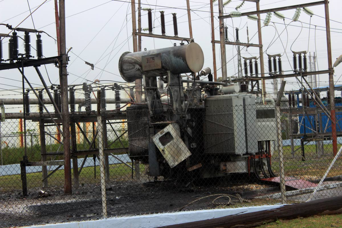 Scorched: The scorched unit of the TTEC substation at North Sea Drive, Point Lisas which had been on fire yesterday. PHOTO BY CHEQUANA WHEELER