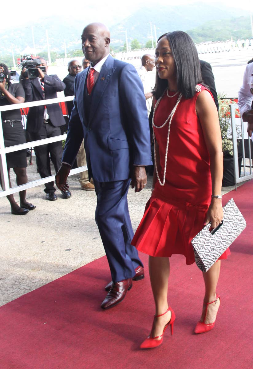 Independence date: Prime Minister Dr Keith Rowley and his wife Sharon arrive at the Grand Stand for the Independence Day parade at Queen's Park Savannah, Port of Spain yesterday. PHOTO BY ANGELO MARCELLE