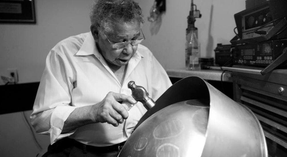 Ellie Mannette crafting a drum at his workshop in Morgantown, West Virginia, in 2006. Photo courtesy Mannette Musical Instruments