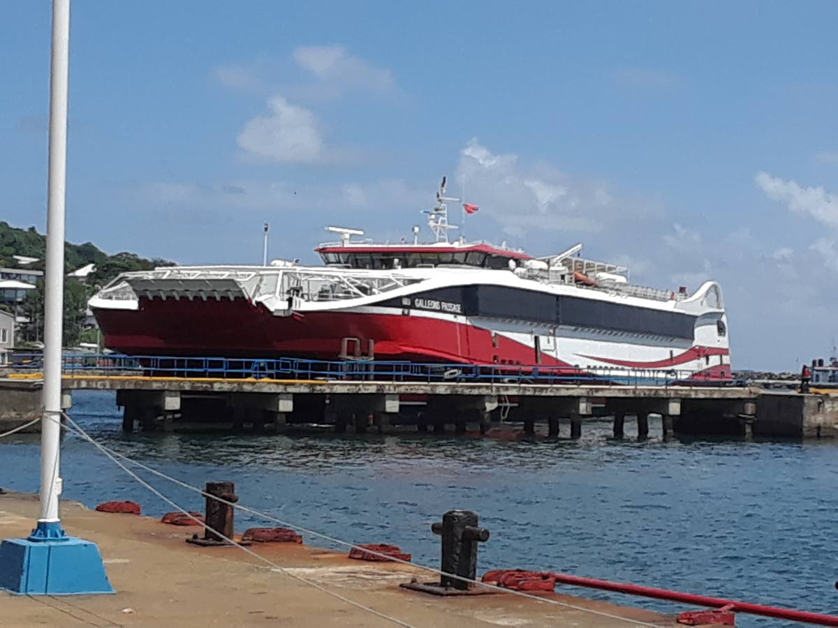 Bow out: Galleons Passage anchors off the Sacarborough port yesterday on its first sea trial between Trinidad and Tobago. The boat's bow ramp could not extend to the dock. PHOTO BY ELIZABETH GONZALES
