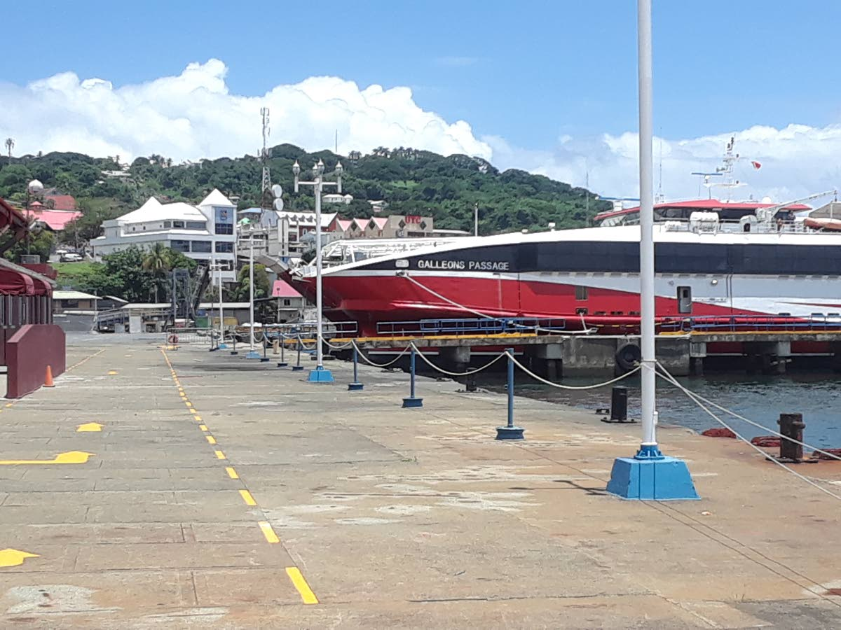 The Galleons Passage sits in the harbour of the Scarborough port on September 2 on in its first trial run to Tobago.