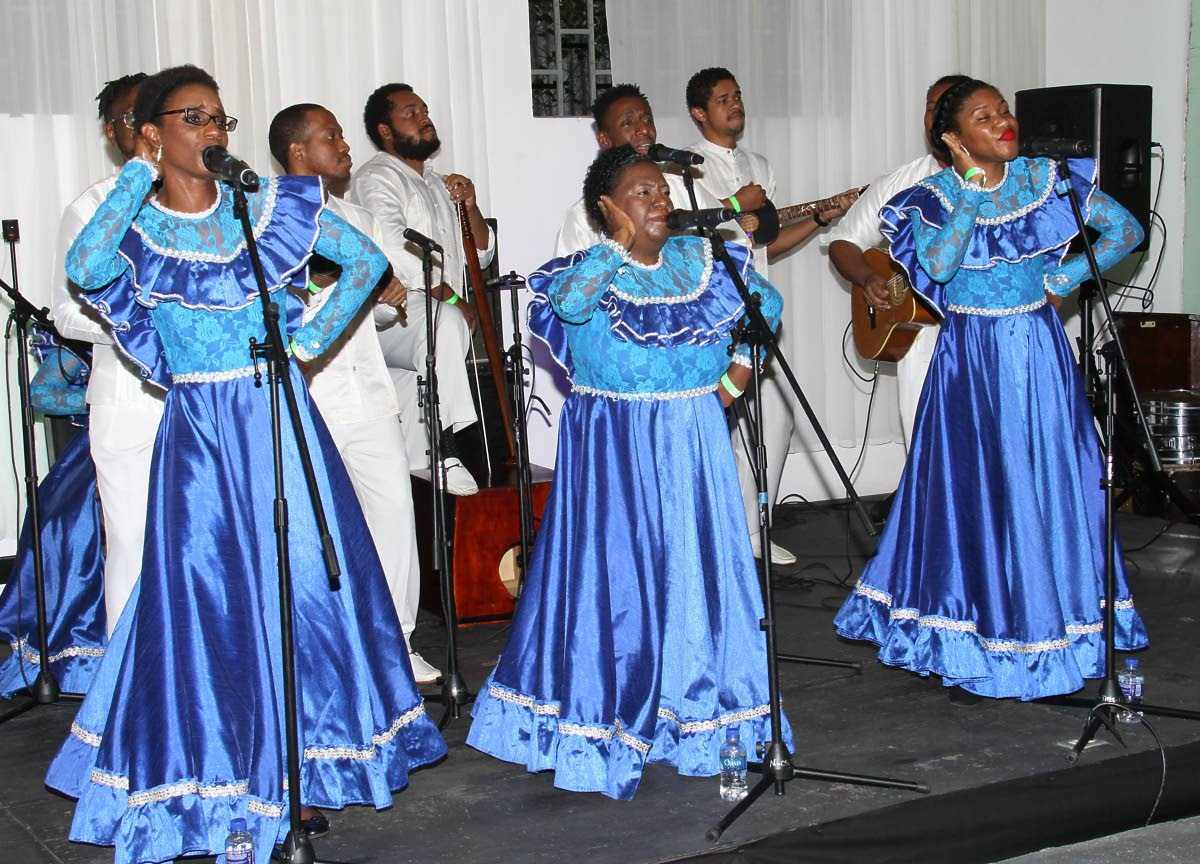JINGLE ALL THE WAY: Amantes de Parranda, winners of the National Parang Association's first jingle competition at the association's Arima headquarters on Saturday.   PHOTO BY ANGELO MARCELLE