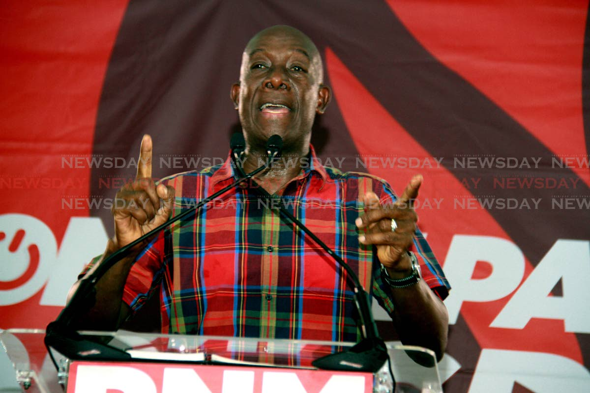 Prime Minister Dr Keith Rowley speaking at a public PNM meeting held at the Marabella Community facility, Marabella on the shutdown of the Petrotrin refinery. Photo by Anil Rampersad.   Anil Rampersad                        5-9-18