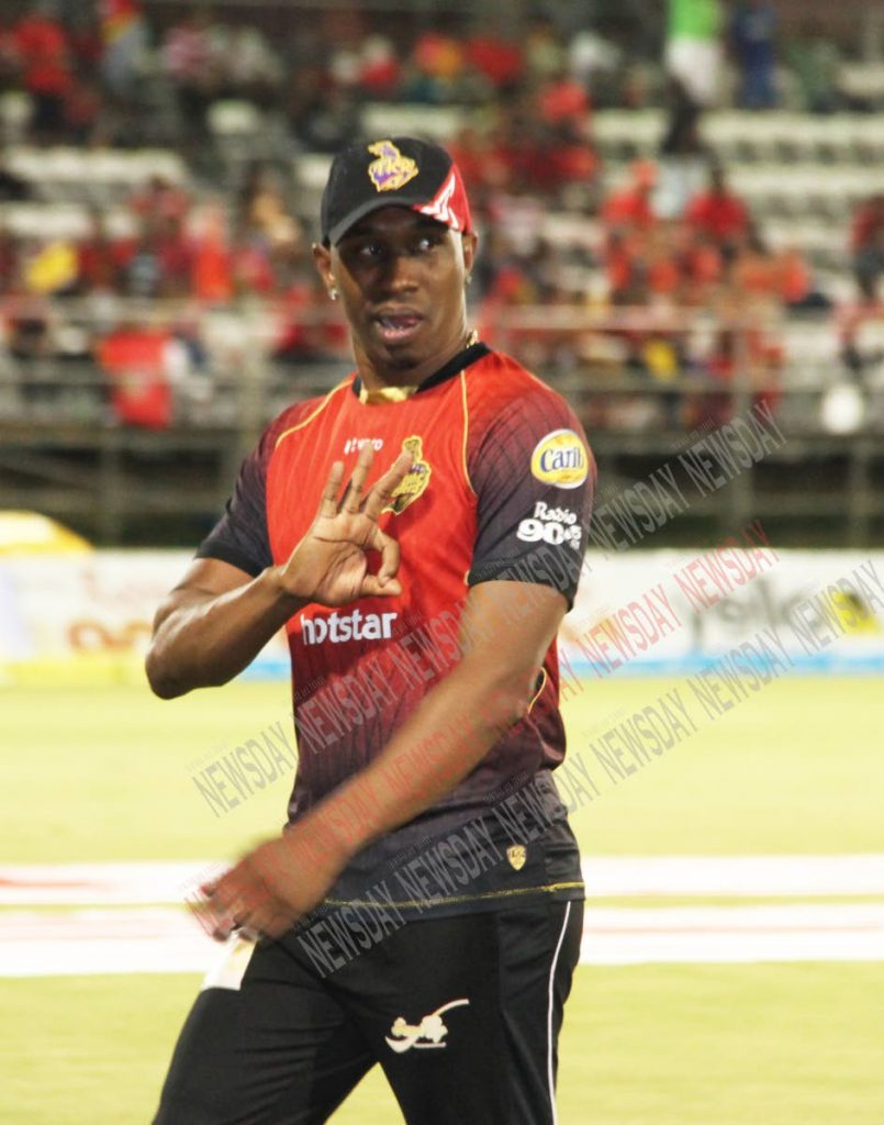 Trinbago Knight Riders captain Dwayne Bravo gestures during Wednesday night's big win over the Guyana Amazon Warriors at the Queen's Park Oval, St Clair. PHOTO BY SUREASH CHOLAI