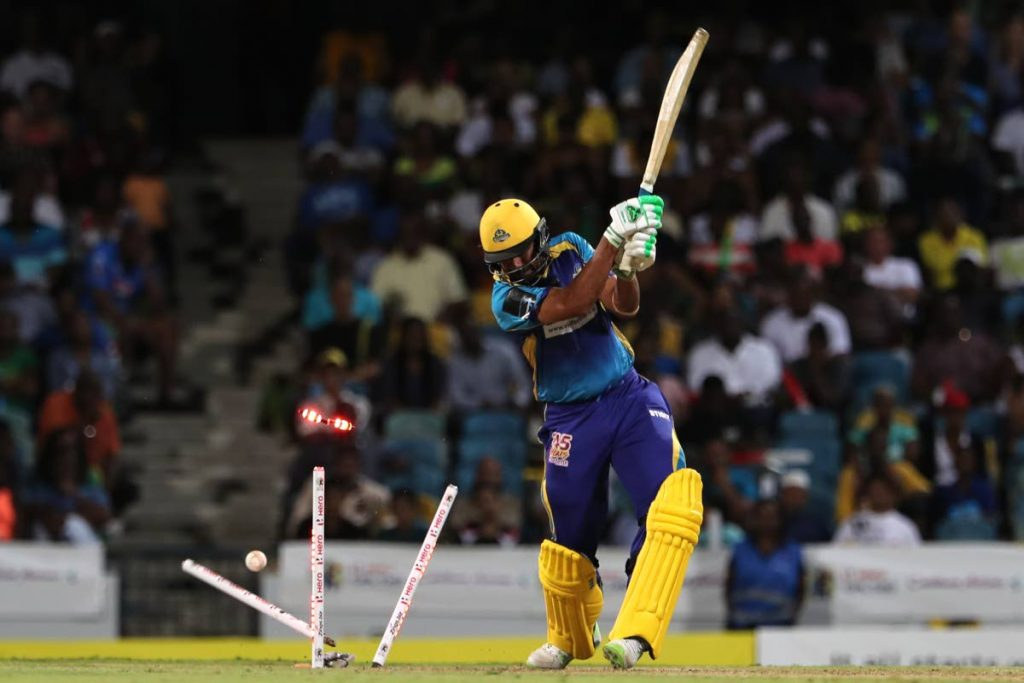 Barbados Tridents' Wahab Riaz has his stumps scattered in an earlier Caribbean Premier League match vs Jamaica Tallawahs. PHOTO BY CPL T20 LTD