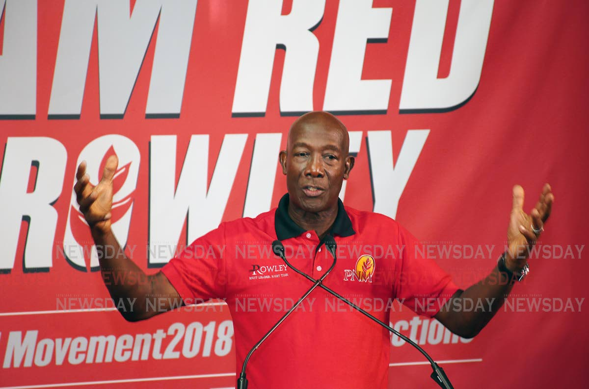 File photo: Prime Minister Dr Keith Rowley on the campaign for the PNM internal election.