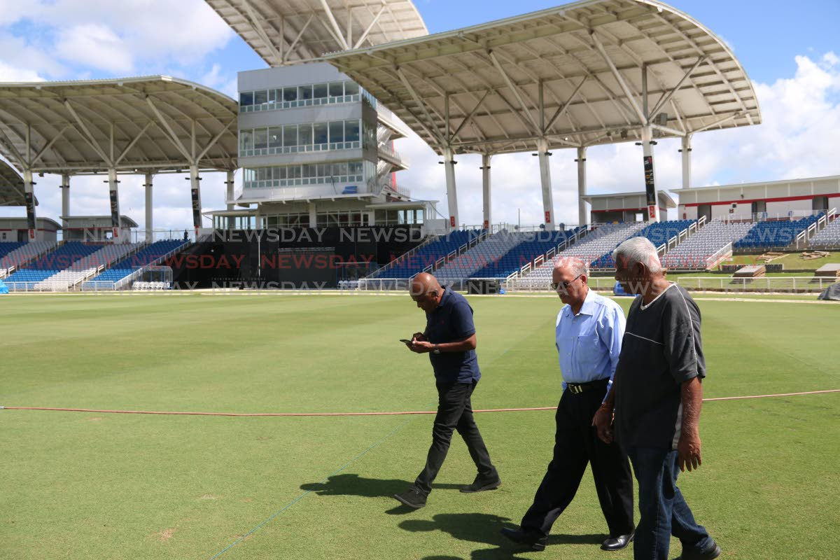 UDECOTT members were seen taking CEPEP Chairman Ashton Ford on tour of the Brian Lara Stadium yesterday PHOTO BY: ANSEL JEBODH