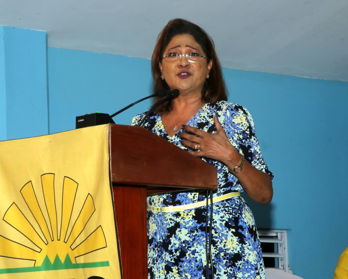 Opposition Leader Kamla Persad-Bissessar at the Claxton Bay meeting last Monday where she described Prime Minister Dr Keith Rowley as an
