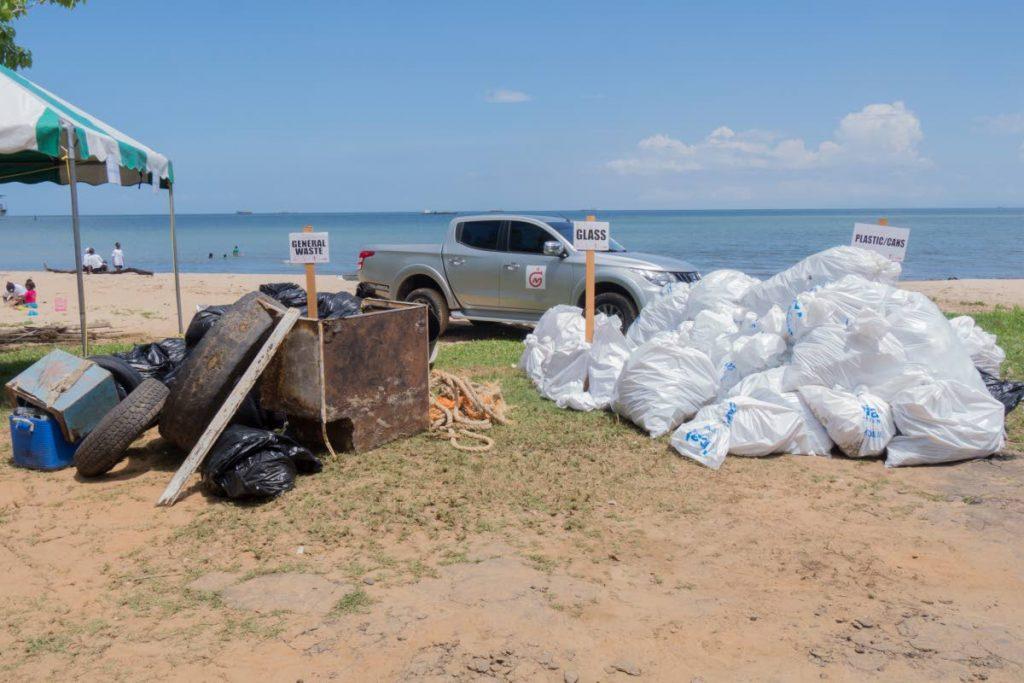Garbage collected along the La Brea Station Beach shoreline.