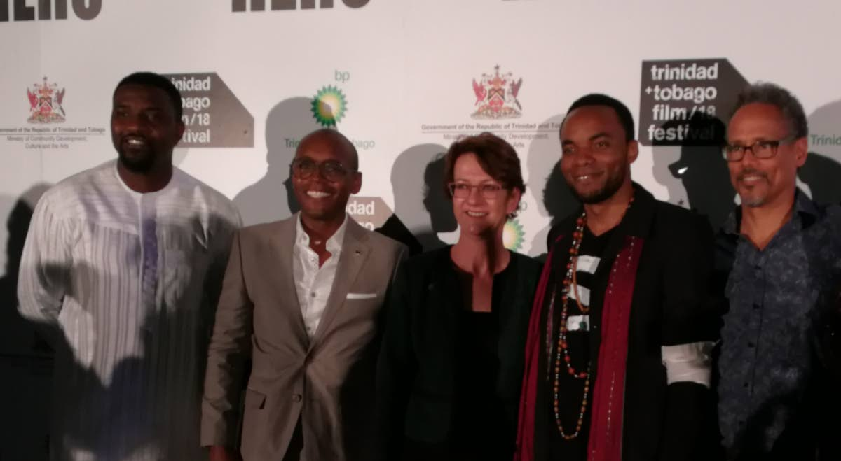 The cast from Hero: Inspired by the Extraordinary Life and Times of Mr Ulric Cross: John Dumelo, left, Fraser James, BPTT president Claire Fitzpatrick, Nickolai Salcedo  and Peter Williams.