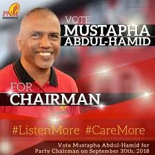 Mustapha Abdul-Hamid's campaign poster for election as PNM chairman.