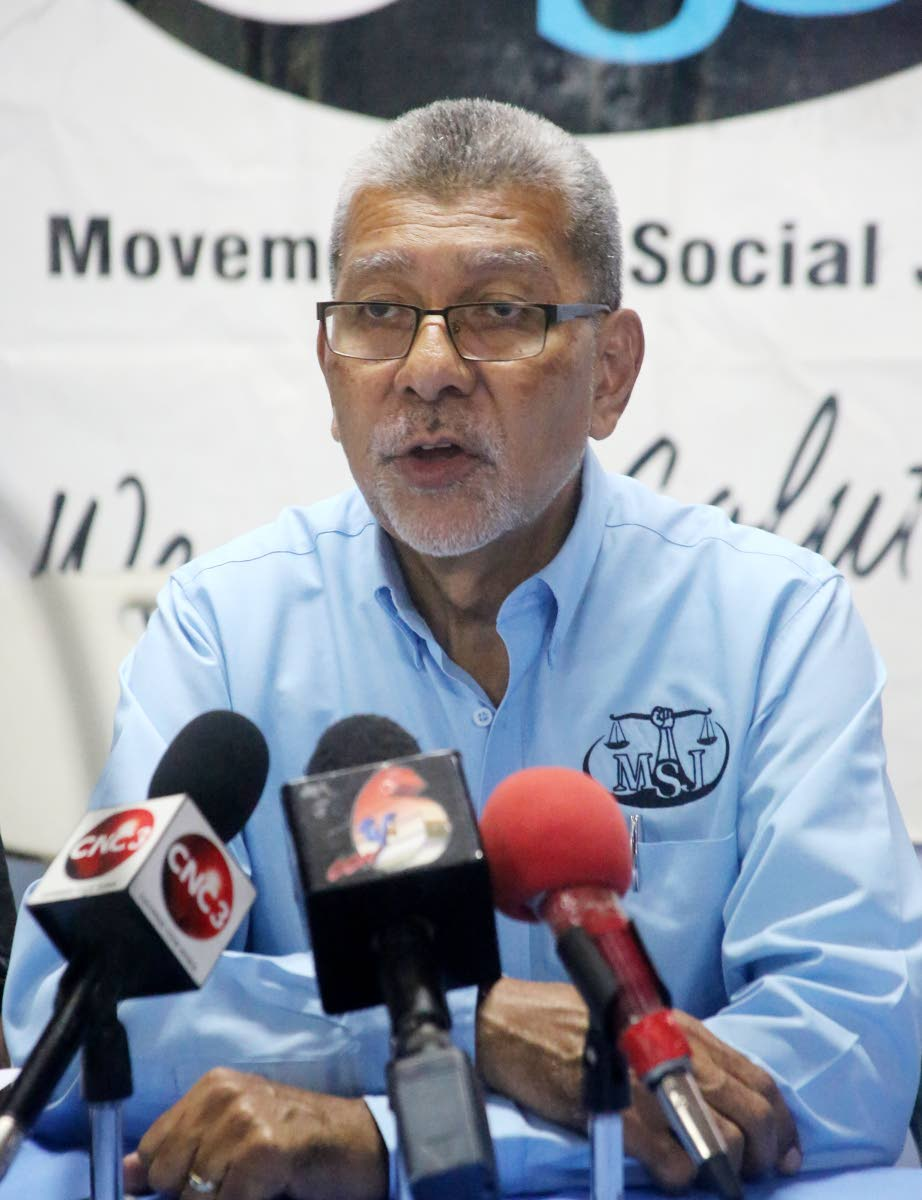 MSJ political leader David Abdulah yesterday at a press briefing at the party's office in San Fernando. PHOTO BY VASHTI SINGH