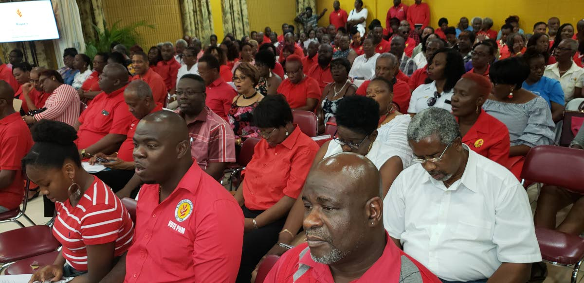 Supporters of the PNM gather for the Tobago Council's third convention at the conference room of the Division of Infrastructure at Shaw Park on Sunday. Photo by Kinnesga George-Harry