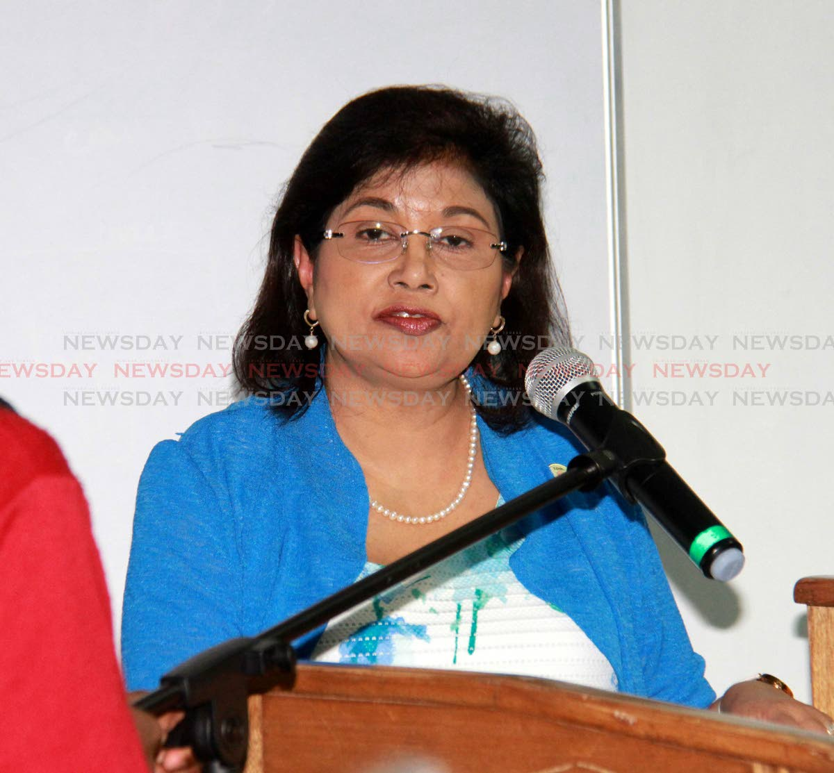 File photo: COP political leader Carolyn Seepersad-Bachan during a Congress of the People Energy Solutions Forum, which took place at Naparima College in San Fernando. PHOTO BY ANIL RAMPERSAD.