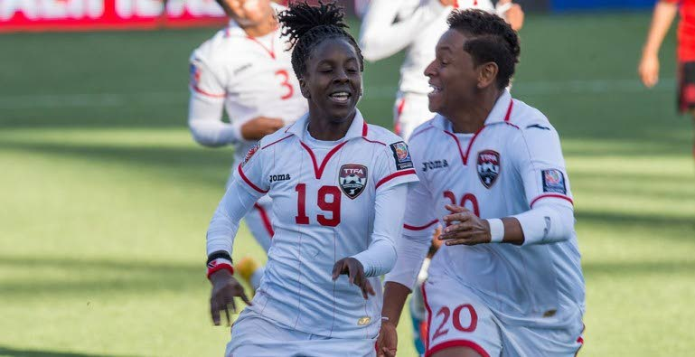 National footballers Kennya Cordner, left, and teammate Lauryn Hutchinson, right, are on the squad for next month's CONCACAF Women's Championship in the US.