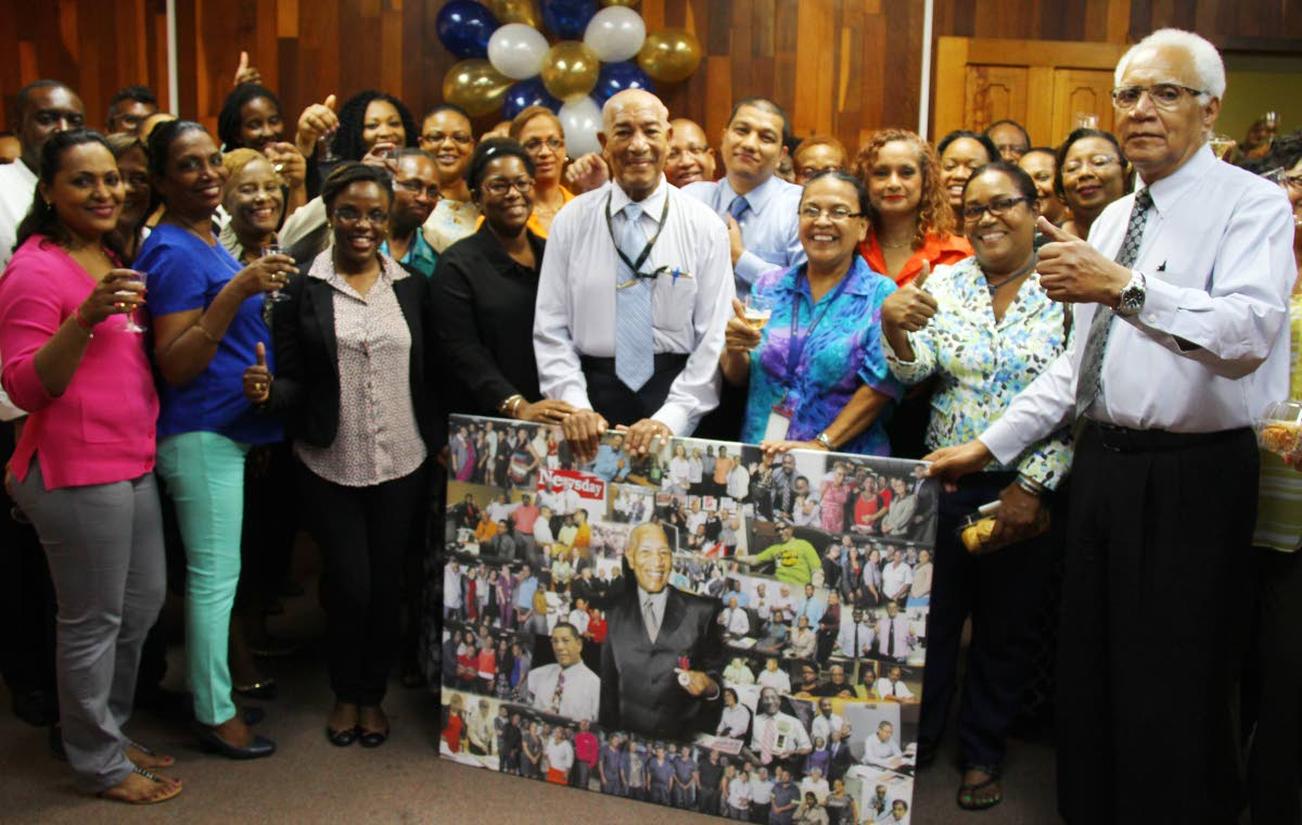 Newsday staff bid farewell to John Babb on his final day Newsday, at the newspaper he helped found. Photo by Roger Jacob