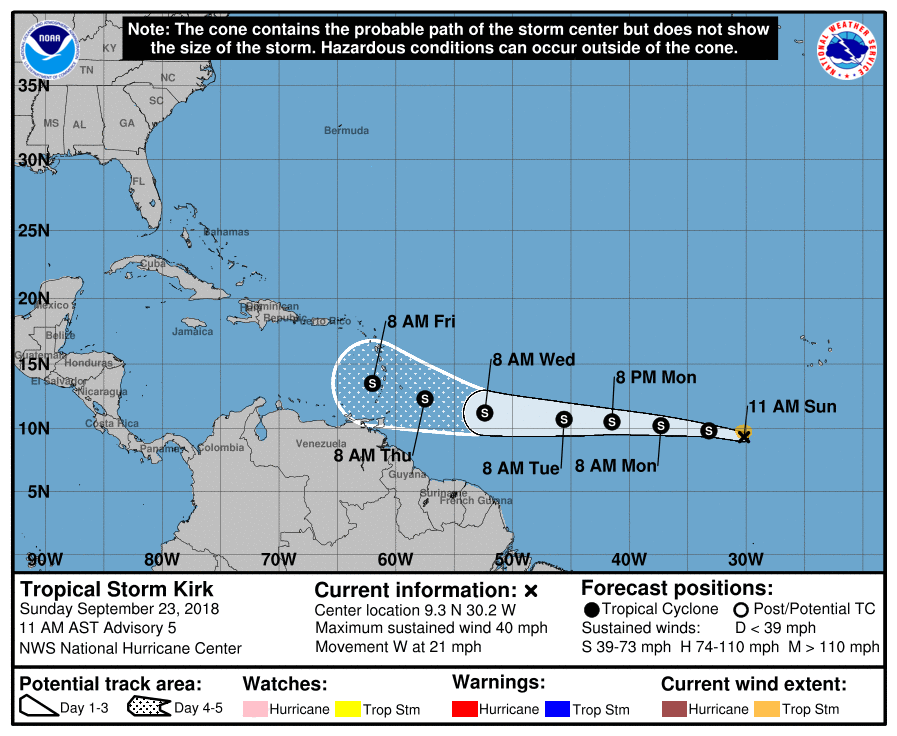 Tropical Storm Kirk racing across Atlantic, Subtropical Storm Leslie forms