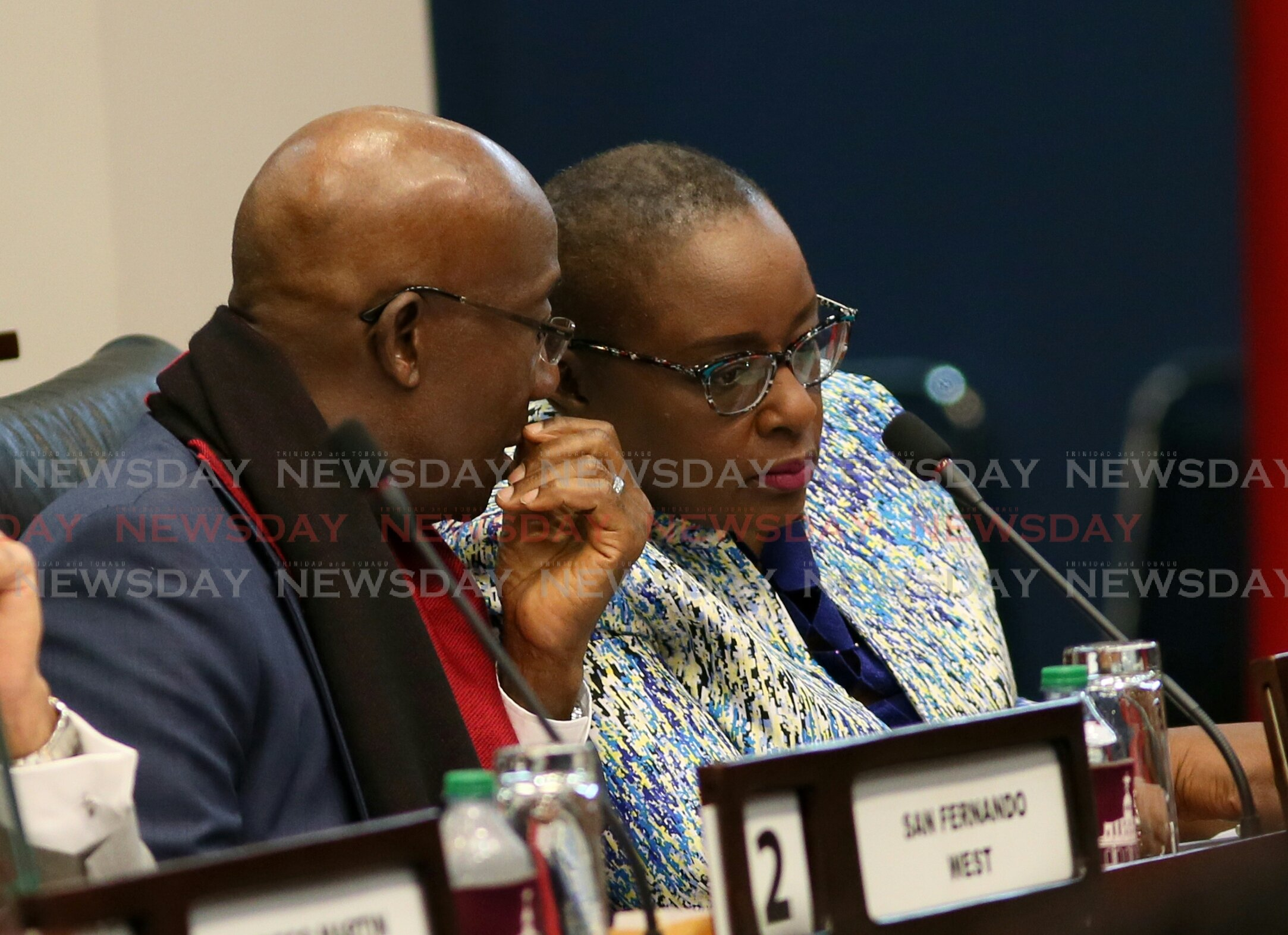 Prime Minster Dr Keith Rowley speaks to Planning Minister Camille Robinson-Regis in Parliament during the 2019 budget presentation. Photo by Azlan Mohammed.