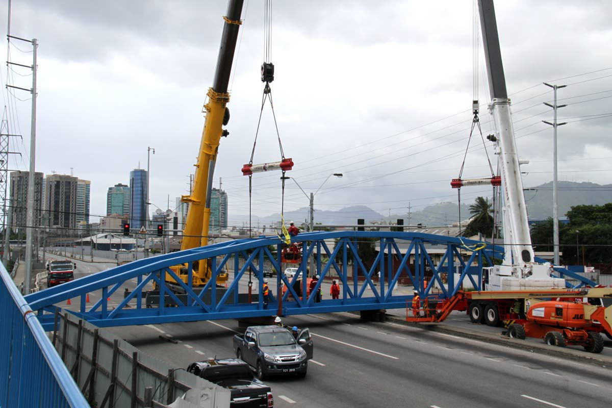 The Sea Lots pedestrian overpass superstructure as it was being installed near to Central Market, Beetham Highway, Port of Spain.