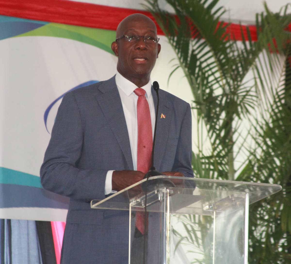 Prime Minister, Dr Keith Rowley speaking at the project launch of the Alutech Project, Tamana InTeck Park. photo by enrique assoon
