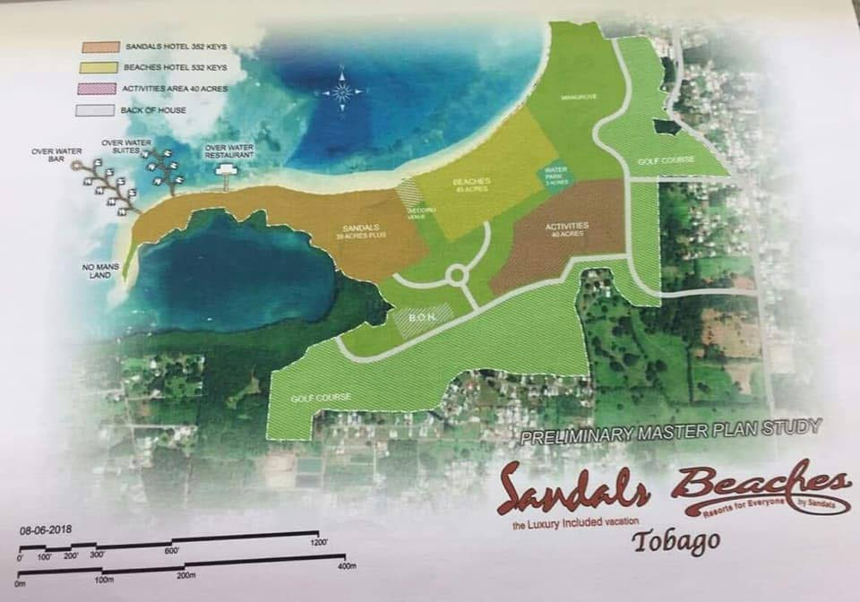 The preliminary plans for Sandals Tobago and Beaches Tobago. Jeremy Jones, Sandals Resorts International's corporate services director said the spin-off benefits from the hotels would include other sectors including agriculture, transportation and banking.