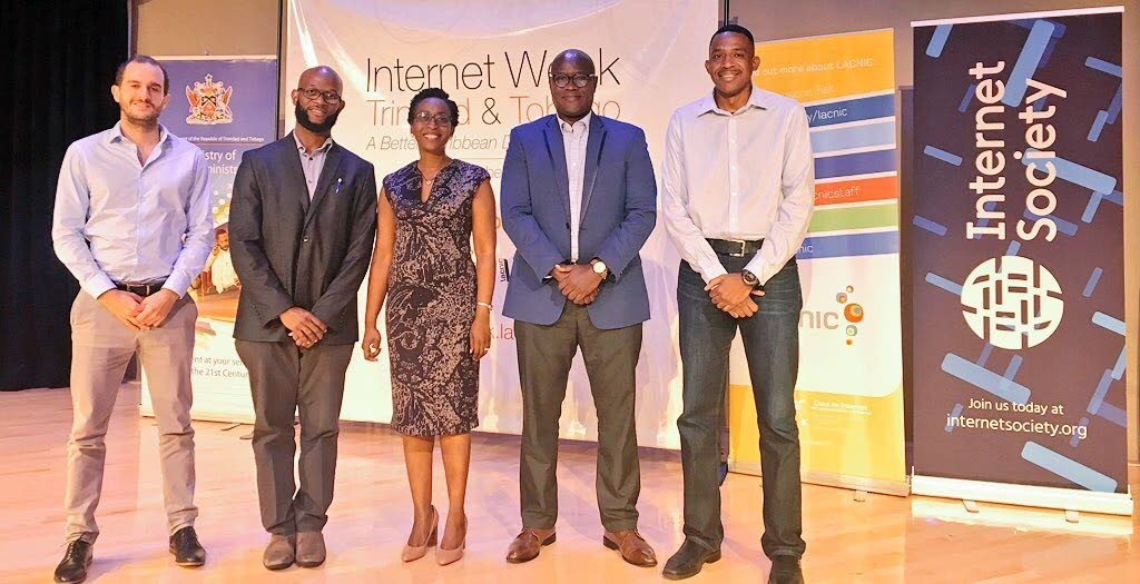 Gabriel Recalde, Google; Kevon Swift, LACNIC; Shelly Ann Clarke Hinds, MInistry of Public Administration; and Stephen Lee, CaribNOG, at the opening of Internet Week TT on October 2, at Government Plaza Auditorium, Richmond Street, Port of Spain. Photo courtesy Gerard Best