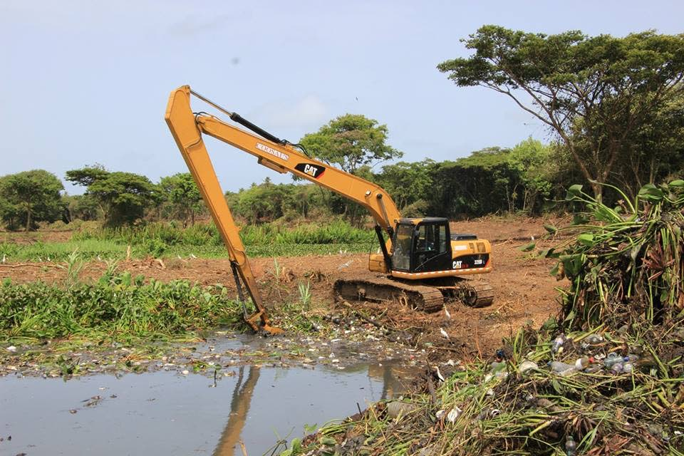 Desilting work in progress at a culvert at Herman King Trace, Lowlands.