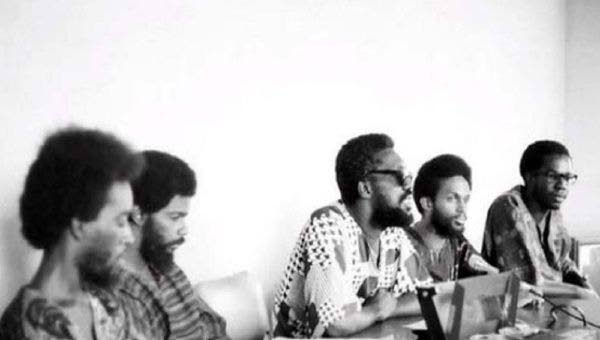 BLACK POWER DAYS: Makandal Daaga (centre) speaks at a press conference in 1970, a year after he led UWI students in a protest at the south gate of the St Augustine campus.