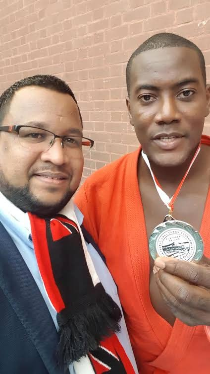 TT sambo athlete Martin Joseph, right, and TT Sambo and Combat Sambo Federation president Jason Fraser.