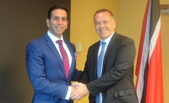 Attorney General Faris Al-Rawi (left) greets Avni Arifi, chief of staff, Office of the Prime Minister, Republic of Kosovo on Wednesday at the Ministry of the Attorney General and Legal Affairs, Port of Spain.