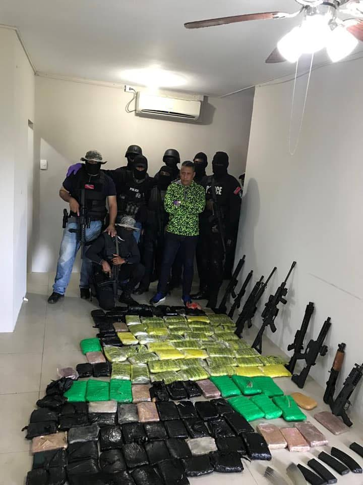 IATF police found a large cache of about ten high-powered rifles and a large quantity of marijuana at a house in Munroe Road, Cunupia, on Friday. Commissioner of Police Gary Griffth led the operation after 18 months of surveillance.