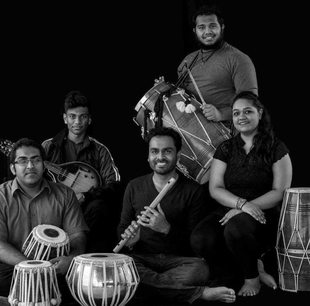 Soham for Iere Theatre's production of Takdir 2017.  Kiran Sankar, left, Abhijit Anchortassoo, Trevor Ramesh Samaroo, Srishti Ramdass andVandana Tulsie.