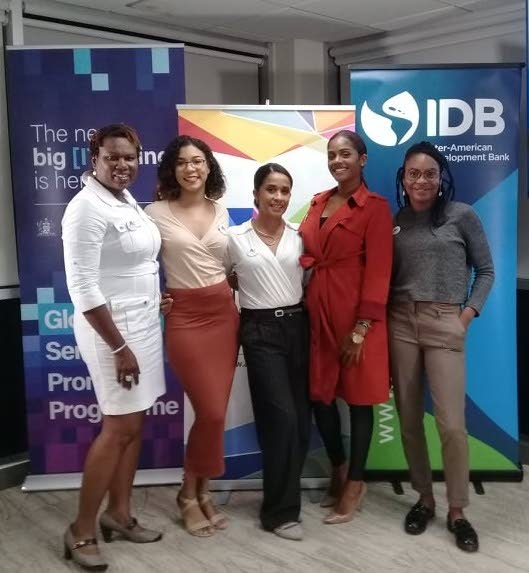 ANIMATED LADIES: Animae Caribe Founder and Creative Director Camille Selvon Abrahams (centre) is flanked by (from left to right) Director Roxanne Colthrust, Festival Coordinator Jessica Yawching, Film Festival Manager Sadé Selvon Abrahams and Workshop Coordinator Sula Douglas-Folkes at the media launch of Animae Caribe 2018 at the Inter-American Development Bank, Port of Spain.