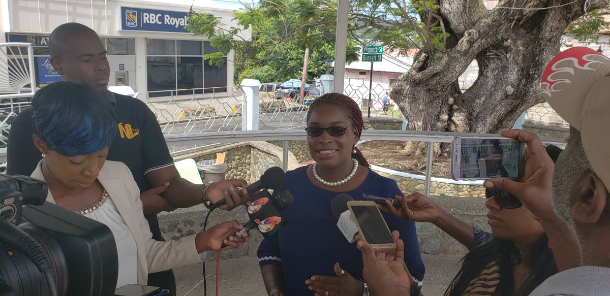 Minority Councillor Dr Faith BYisrael speaks with members of the media on Tuesday.