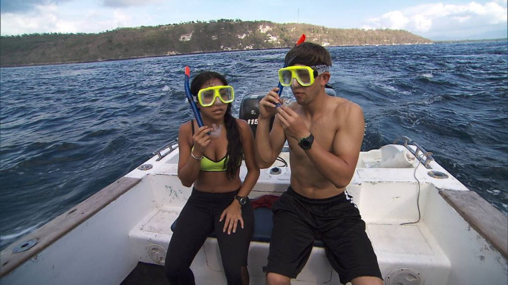Competitors prepare to snorkel and find their next clue on a previous edition of The Amazing Race.