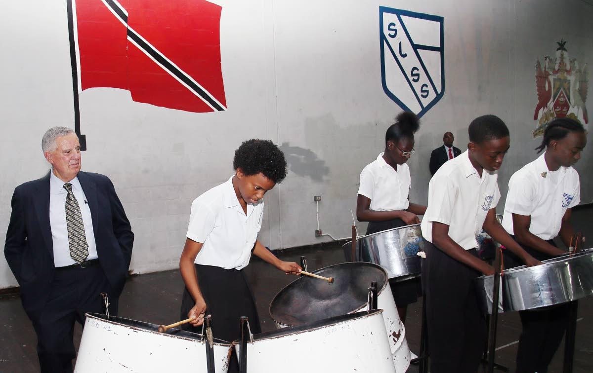 US Ambassador to TT Joseph Mondello looks on as Success Laventille Secondary School students entertain.