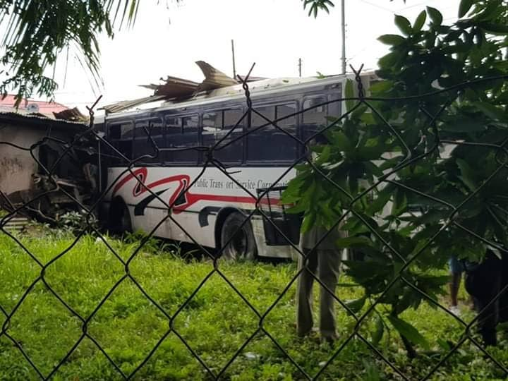 STOP HERE: The bus crashed into a house at Cashew Gardens.