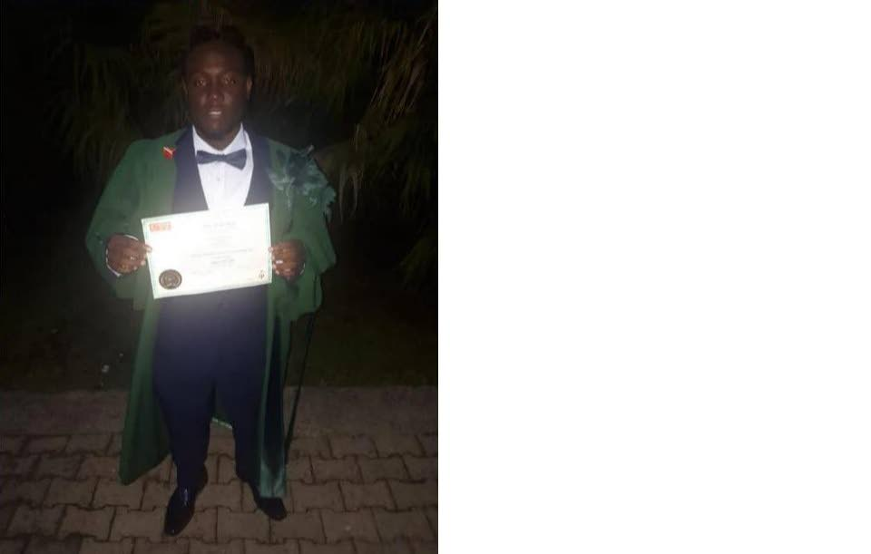 PROUD GRADUATE: Former Carapichaima East defender Akinee Harry has graduated with a degree in criminology.