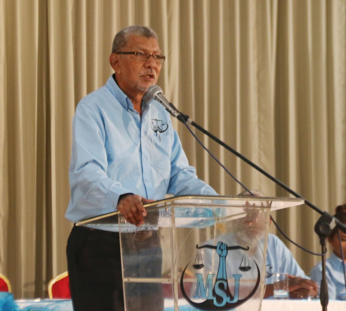 THE RIGHT CHOICE: David Abdulah, political leader of the MSJ, speaks at the party's National Assembly held at the Harewood Dolly Hall, Harris Promenade, San Fernando on Sunday.