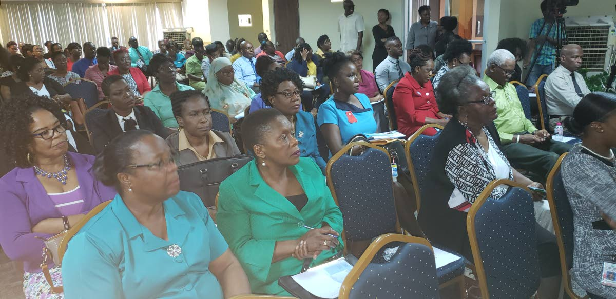 """Education stakeholders gather at the Victor E Brice Financial Complex on Scarborough on Tuesday for a public consultation on the Draft Education Policy Paper titled, """"A Look into the Future."""""""