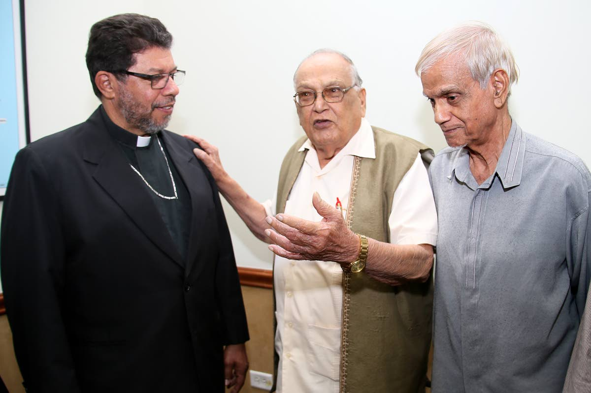 FLASHBACK: In June religious leaders met to call on Government to protect the traditional family and amend the Marriage Act to prevent the legislation of same-sex marriage. From left Archbishop of Port of Spain Fr Jason Gordon, SDMS president Sat Maharaj and ASJA President Yacoob Ali, following a press conference at the Archbishop House, Port of Spain.