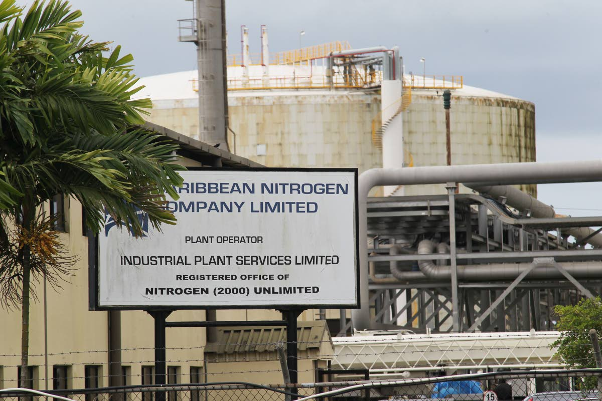 Caribbean Nitrogen Co Ltd plant in Point Lisas Industrial Estate. The sign also identifies Nitrogen (2000) Unlimited as an associated company.