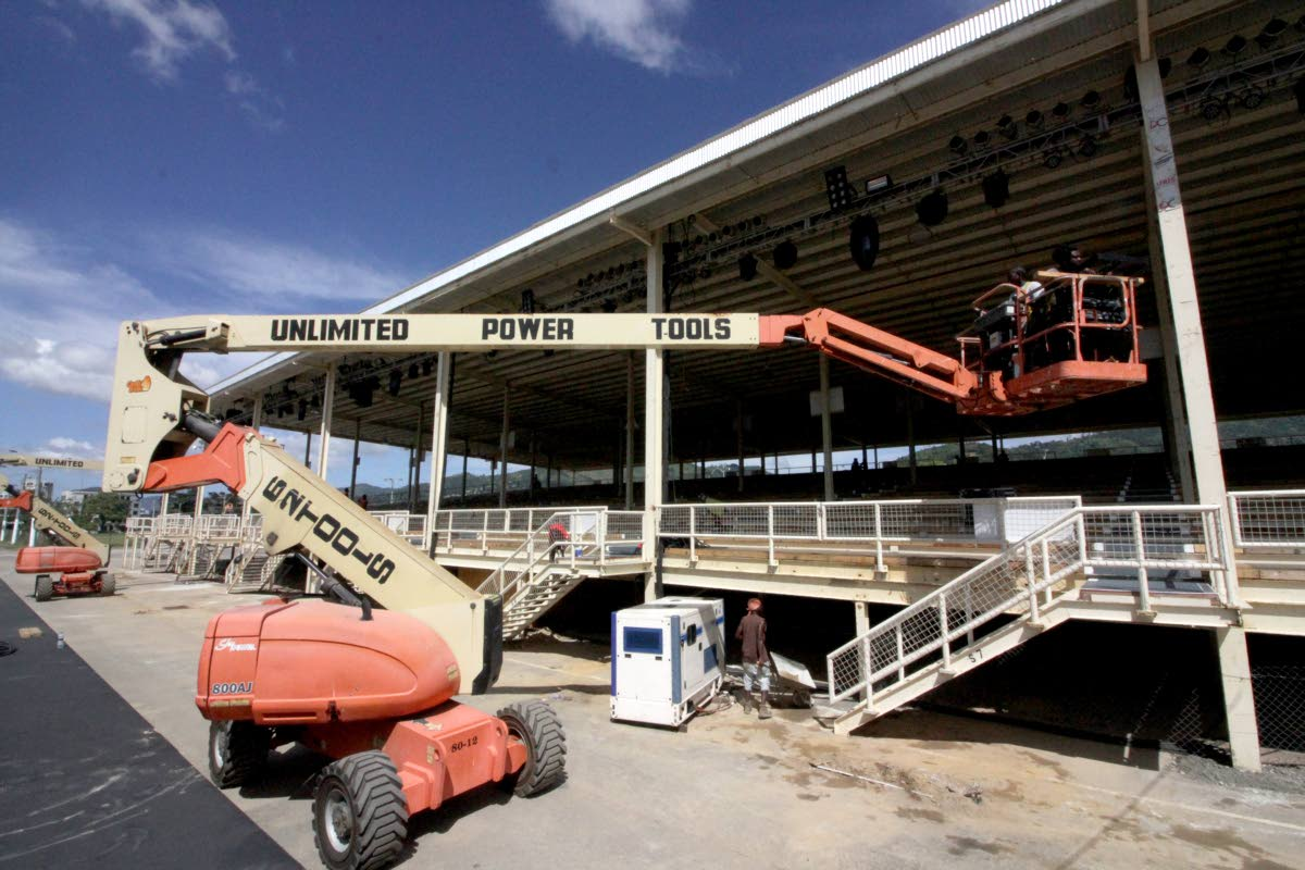 In this January 26, 2018 file photo work men put the final touches on the North Stand of the Queen's Park Savannah, Port of Spain just in time for the Panorama semi-finals for medium and large steel bands on January 28. This will not be the scene for 2019 and the NCC has said it would not rebuild the stand because it was too costly.