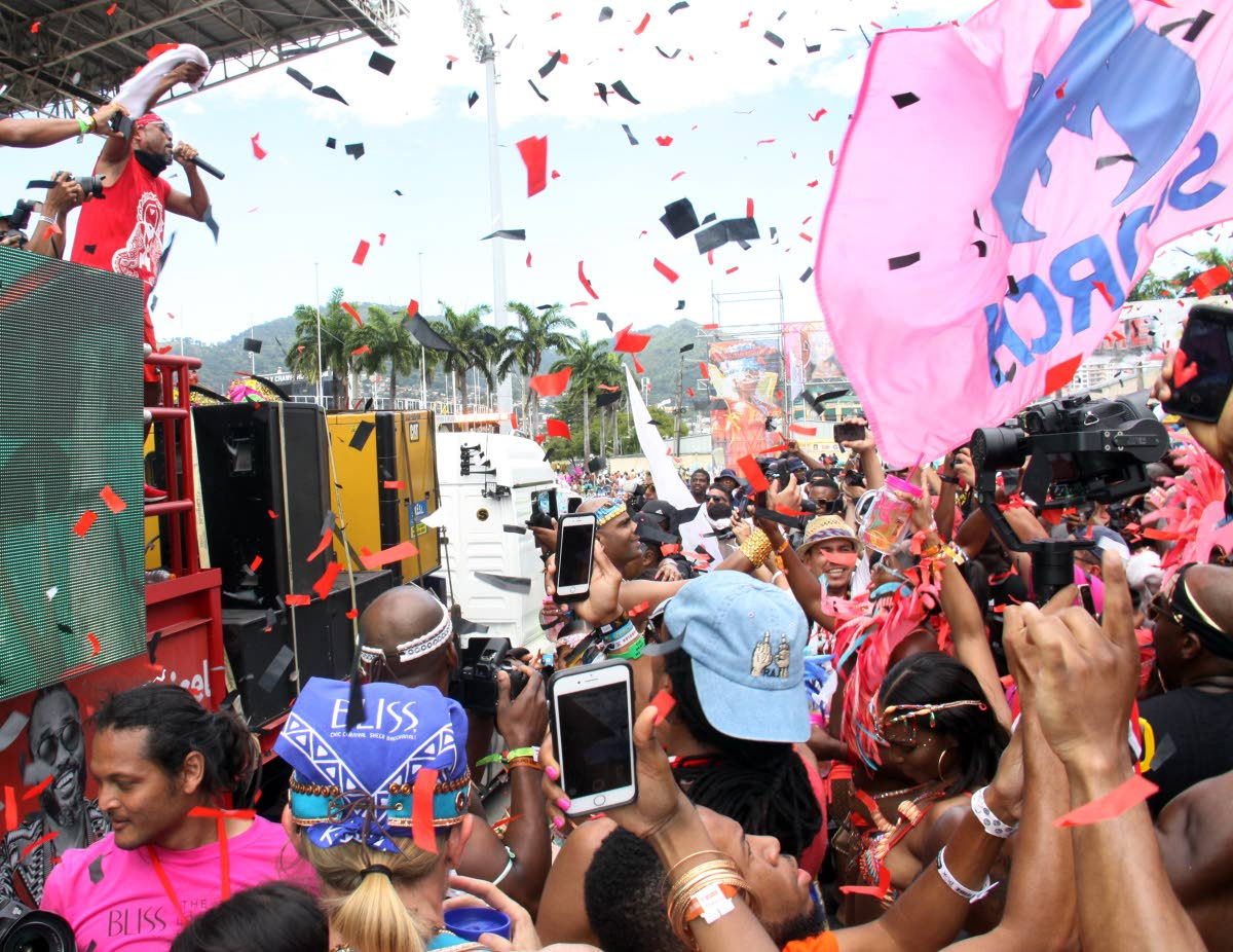 Soca superstar Machel Montano whips Tribe masqueraders into a frenzy at the Soca Drome, Jean Pierre Complex on February 13, 2018. NCC chairman Winston