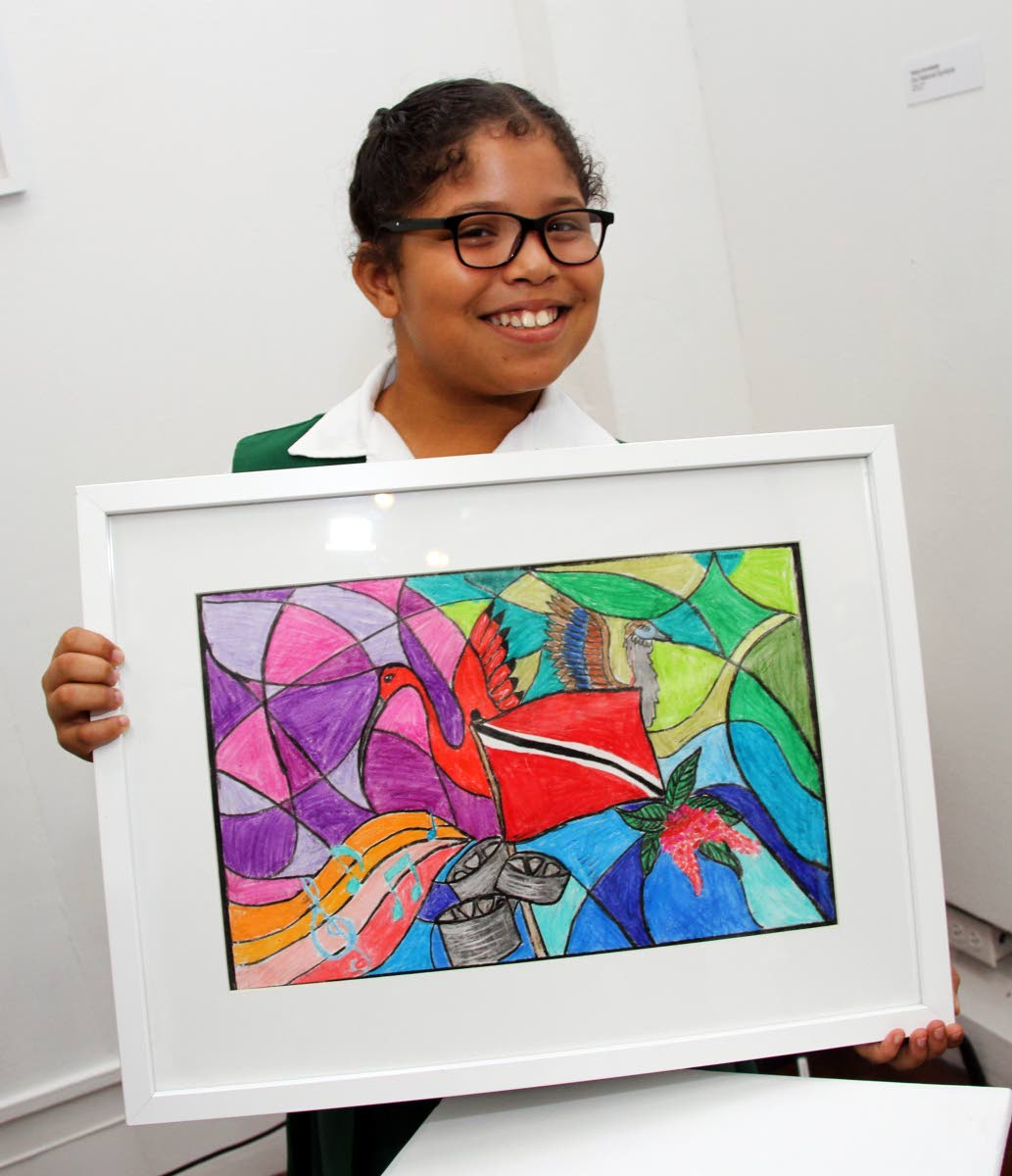 Tehya Archibald displays her painting One National Symbols which won her first prize in the seven to nine category of the Colour Me Trinbago art competition. Archibald also placed second with the painting Hit for 6. PHOTO BY SUREASH CHOLAI
