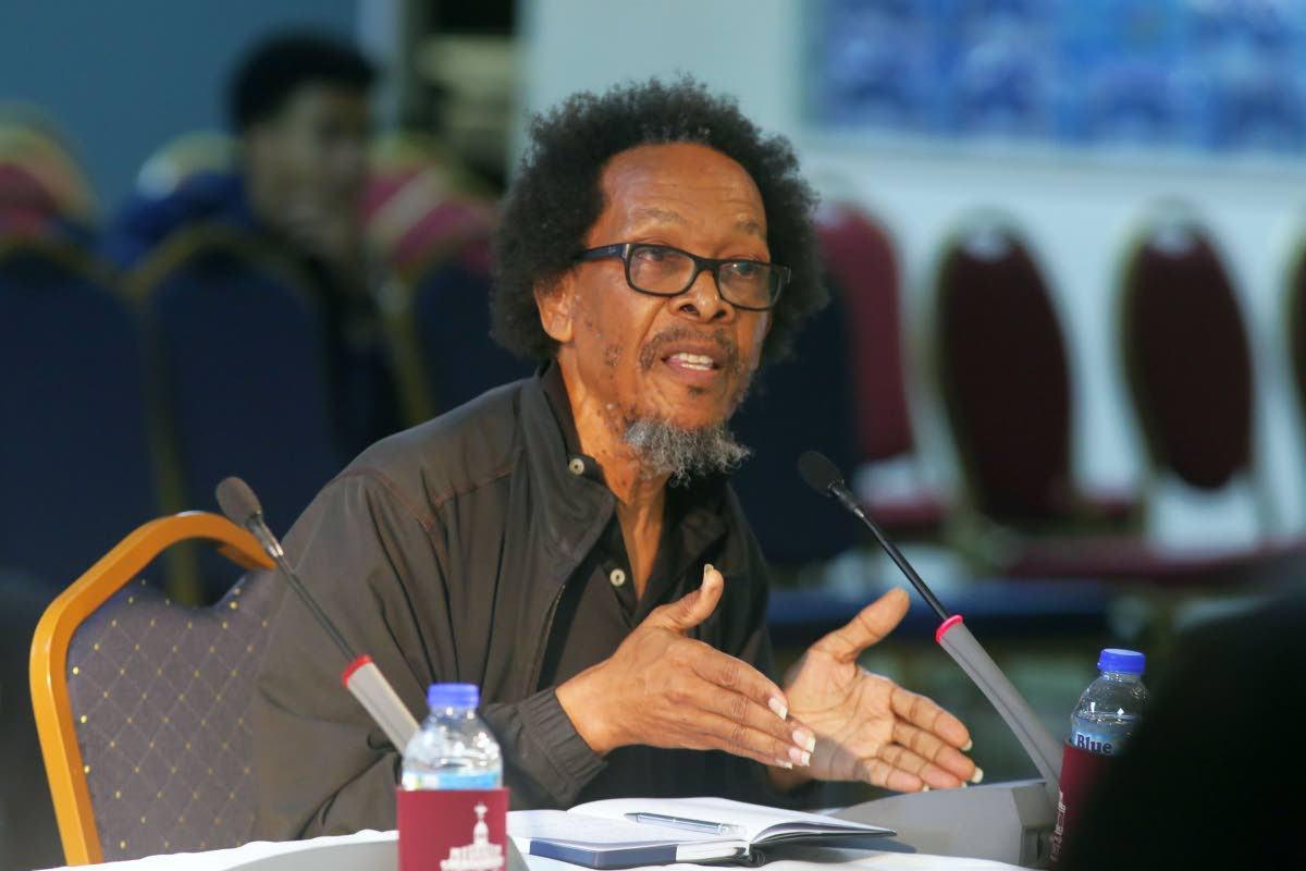 Economist Vanus James makes a contribution at a public consultation on Tobago's autonomy with representatives of the Parliamentary Joint Select Committee (JSC) on June 10 at the Victor E Bruce Financial Complex in Scarborough.